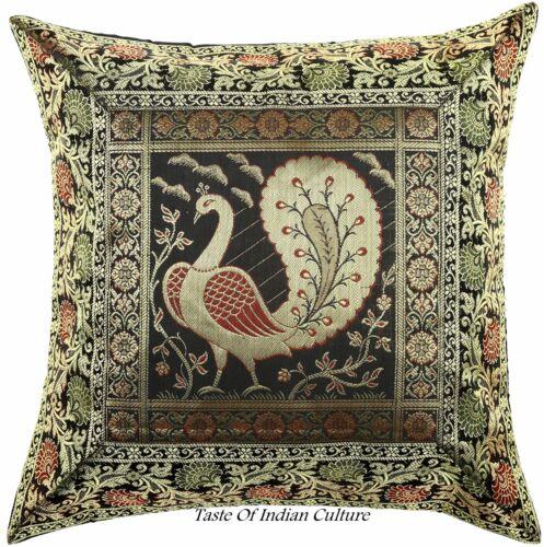"""Black 17/"""" Peacock Cushion Pillow Cover Silk Brocade Sofa Throw Indian Home Decor"""