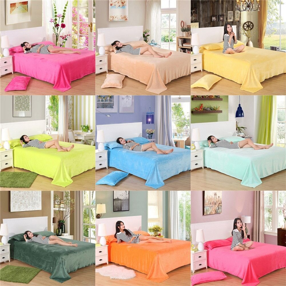 New Super Soft Warm Flannel Blanket Throw Rug Sofa Bed Bedding Double King Size