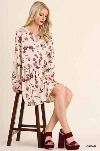 Umgee Dress Size XL S M L Lace Tunic Bishop Long Sleeve Boho Womens Boutique New