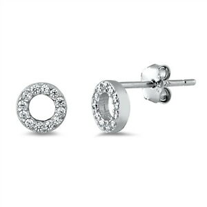 Details about  /Unique Shaped Round Stud 925 Sterling Silver Push Back Earrings