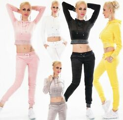 Fitness Set Nicki Samt Jogginganzug Hausanzug Pullover Hose Kapuze Strass 34-40