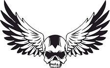 Skull Flügel Aufkleber Totenkopf Motorrad WOHNWAGEN  Tank Helm Bike Schädel #32