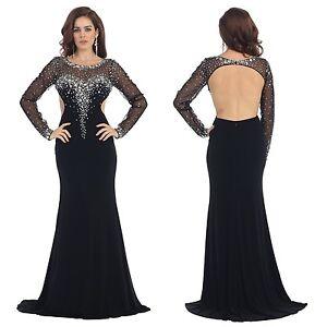 Abendkleider lang schwarz ebay