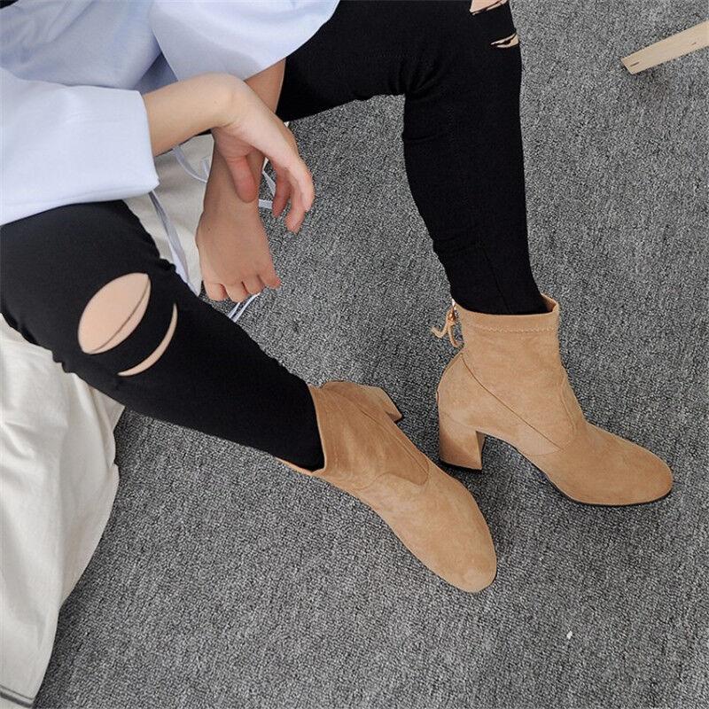 Women's Solid Suede Mid Block Heel shoes Back Zip Ankle Short Boots Plus Size