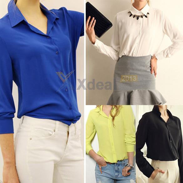 2015 Fashion Women Loose Casual Chiffon long Sleeve Shirt Tops Shirt Blouse New