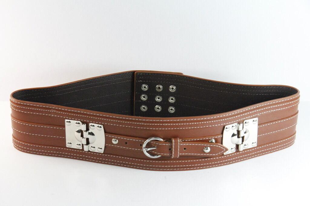 Brown Waist Belt Metallic Chrome Plate White Stitching Press Studs Clasps (SC67)