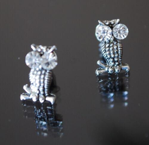 Ohrringe Ohrstecker Metall  Kristall Zirkonia Eule Schmetterling Herz Paris