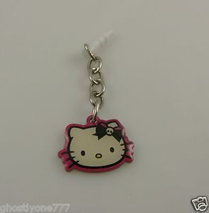 Hello-Kitty-cell-phone-or-fits-Ipad-charm-ear-cap-dust-plug-black-pink-white