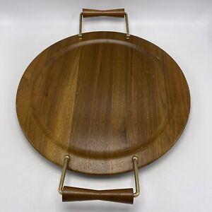"Mid Century Modern Walnut Wood Serving Tray Raised Brass Turned Handles MCM  14"""