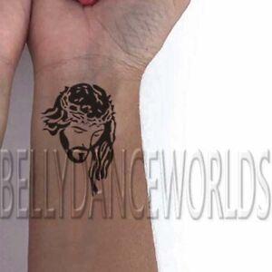 9ced55637 1 SET of 2 Jesus Christ portrait silhouette blackwork wrist ...