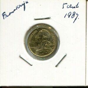 5-CENTIMES-1987-FRANCE-French-Coin-AN823GW