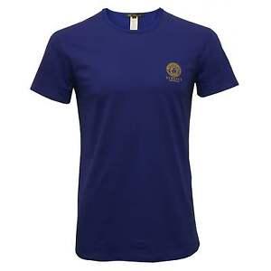 Versace-Iconic-Crew-Neck-Stretch-Cotton-Men-039-s-T-Shirt-Blue