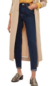 Topshop Womens Petite bluee Mom High Waisted Jeans Sz 30W X 28L 7771