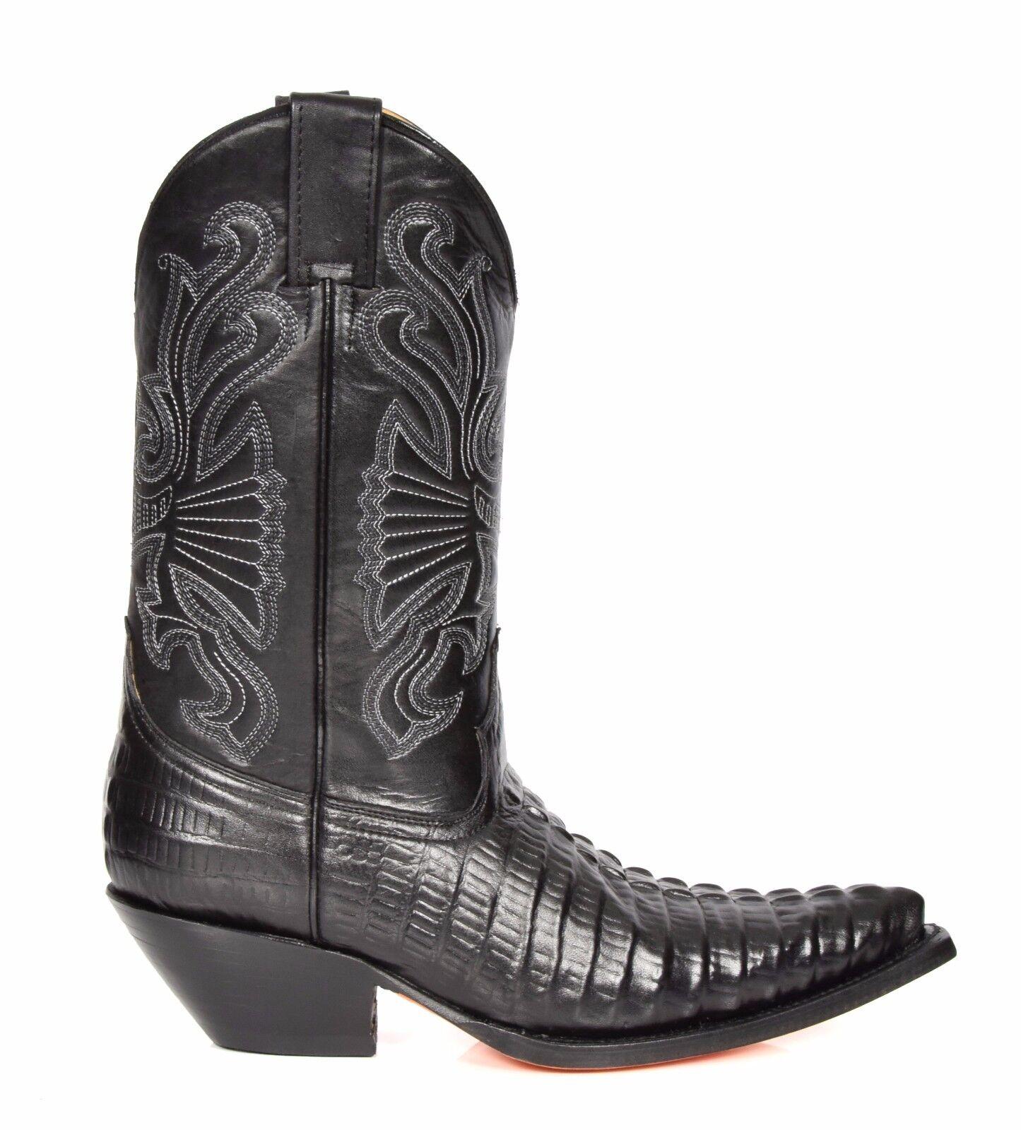 Stivali da Cowboy da Uomo in in in Pelle Coccodrillo Nero Slip On A Punta Designer Stivali Grinders 34637e