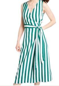 Nuevo-M-amp-S-Limited-Edition-para-mujeres-Verde-Raya-envoltura-Midi-Vestido-Talla-6-18