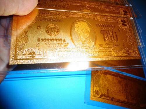 GOLD PLATED USA $ COLLECTIBLE ONLY 2 DOLLAR BILL*COMES IN RIGID PVC BILL HOLDER