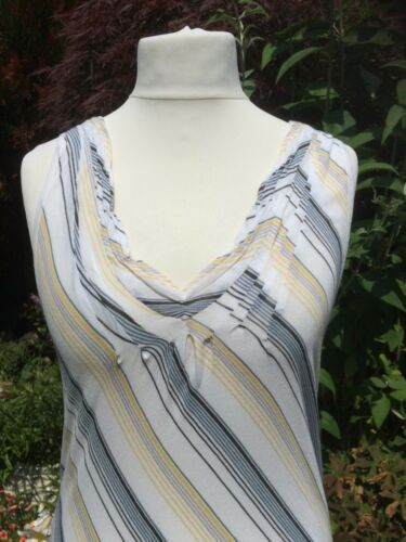 Nicole Top Farhi Size Striped Cotton M tunic Fitted Long r1rcfWyX