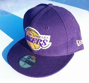 LOS ANGELES LAKERS NBA Basketball Purple New Era 5950 Fitted Hat Cap ... 4dcca197e26