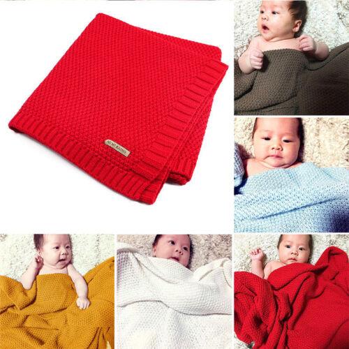 Unisex Baby Kid Acrylic Knitted Blanket Cover Boys Girls Soft Sleeping Wrap UK