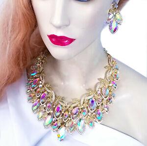 Choker-Bib-Necklace-Earring-Set-Rhinestone-Crystal-AB-Iridescent