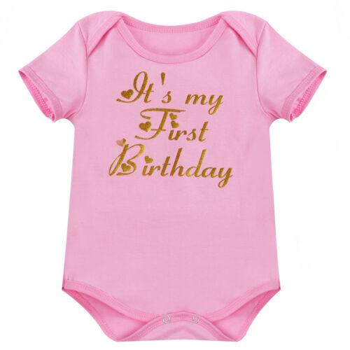 New Baby Girl 3Pcs Romper Bodysuit Dress Unicorn Headband Shoes Birthday Clothes
