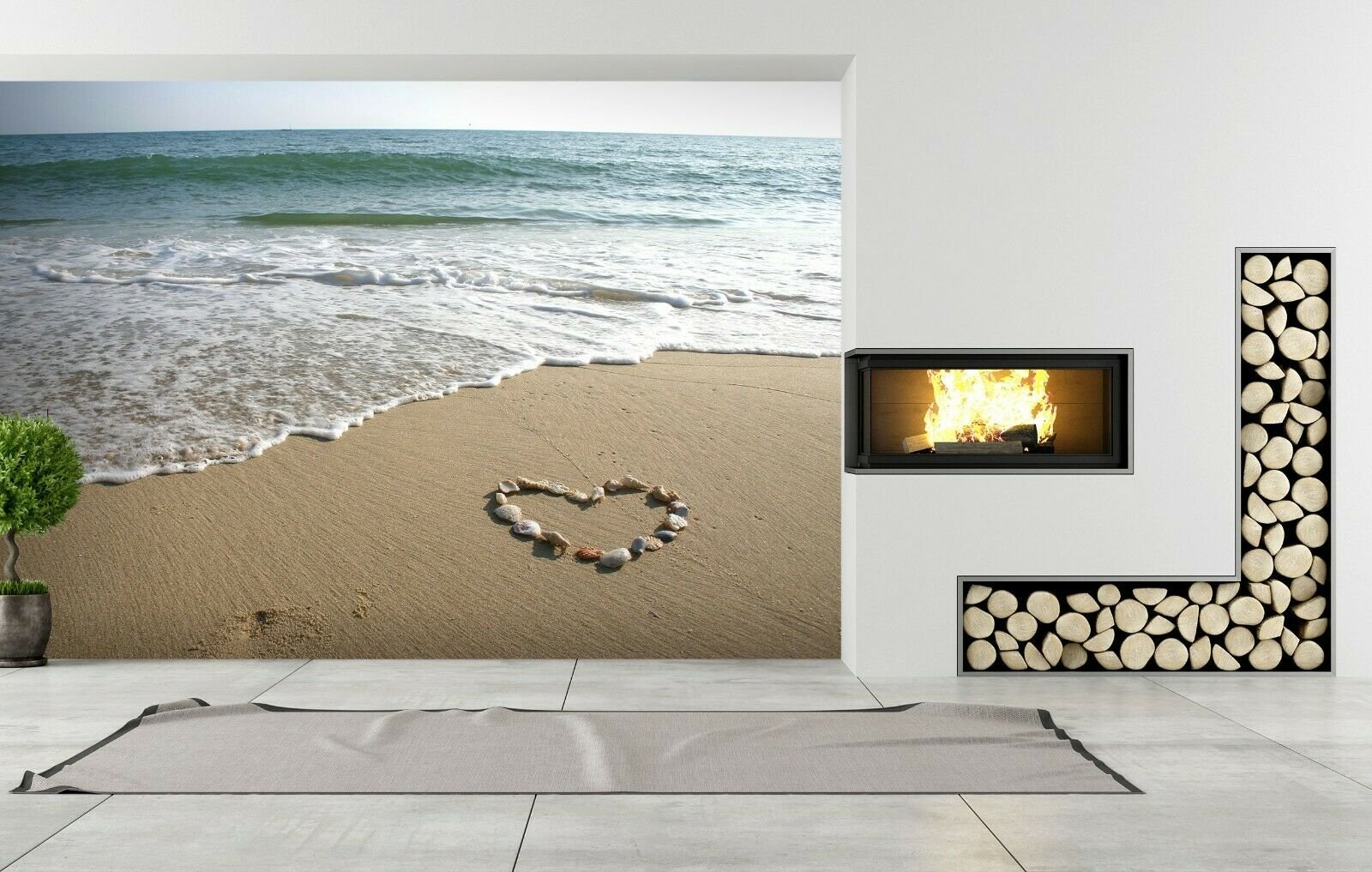 3D Lounge Heart Shaped R370 Wallpaper Wall Mural Self-adhesive Commerce Amy