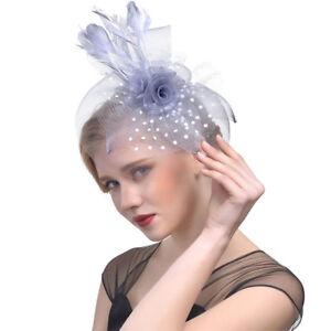 b75a44dfdb4 Women s Feather Fascinator Headband Hat Hair Clip Party Wedding ...