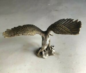 Collectible Chinese Folk Fengshui Copper carved eagle Statue Table Top Decorate
