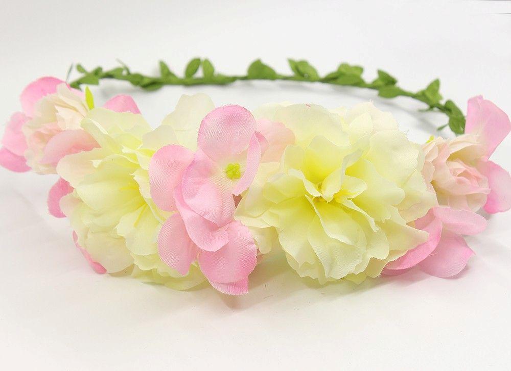 Festival Hairband Pink Ivory Flowers Crown Hair Accessories Communion Children