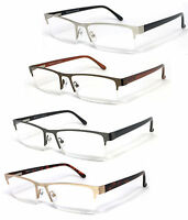 Premium Quality Rectangle Metal Frame Semi Rimless Reader Reading Glasses - Re75