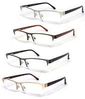 Premium Quality Rectangle Metal Frame Semi Rimless Reader Reading Glasses - Re75
