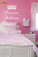 Princess Crown & Personalized Name Wall Sticker Wall Art Vinyl Decal Girls Room