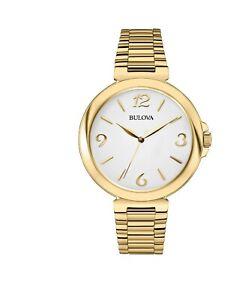 Bulova Women's Quartz White Dial Gold Bracelet 38mm Watch 97L139