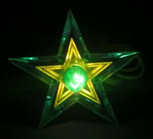 Glo-Star-Christmas-Tree-Topper-Light-Lighted-Lucite-Vintage-Green-Yellow
