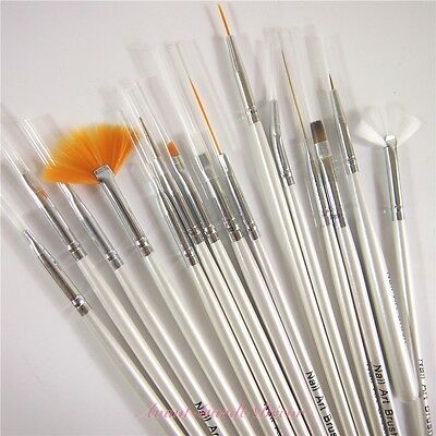 Set of 15pcs Nail Art Design Drawing Brush Painting Sable Pen Acrylic Tool