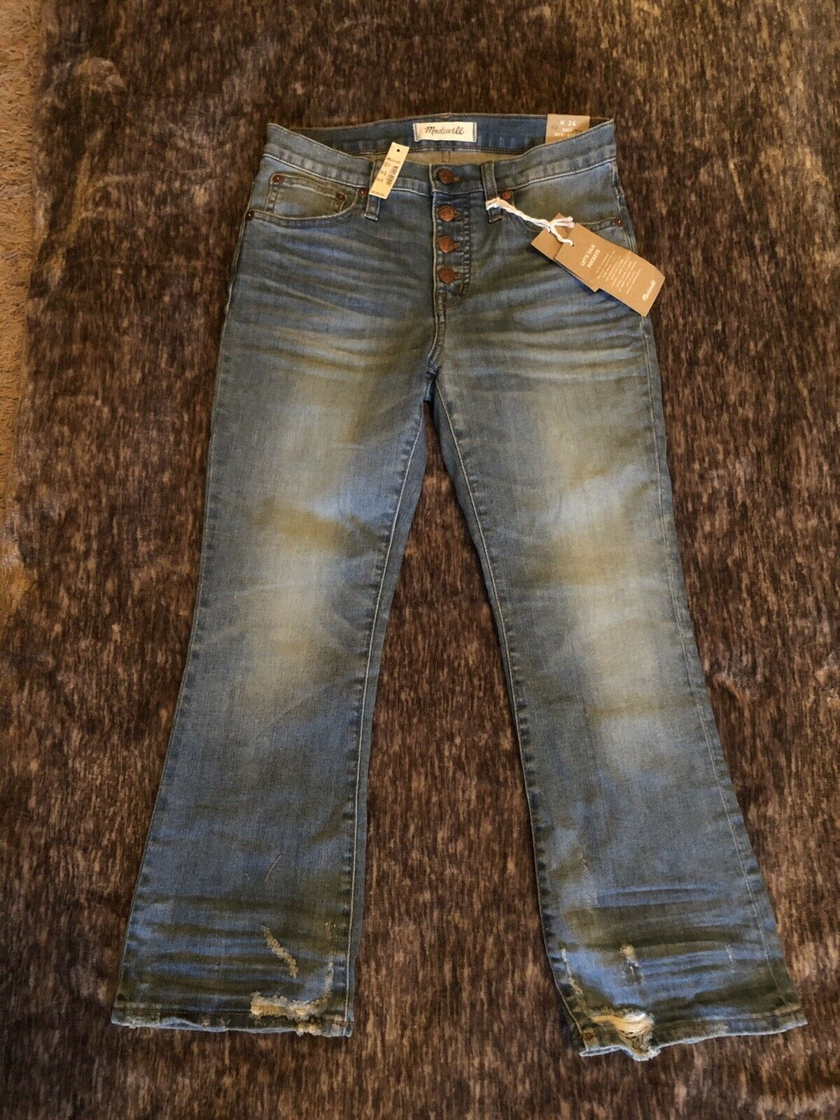 MADEWELL Cali Demi-Boot Jeans in Bess Wash  Button-Front Edition W26PNWT  ()