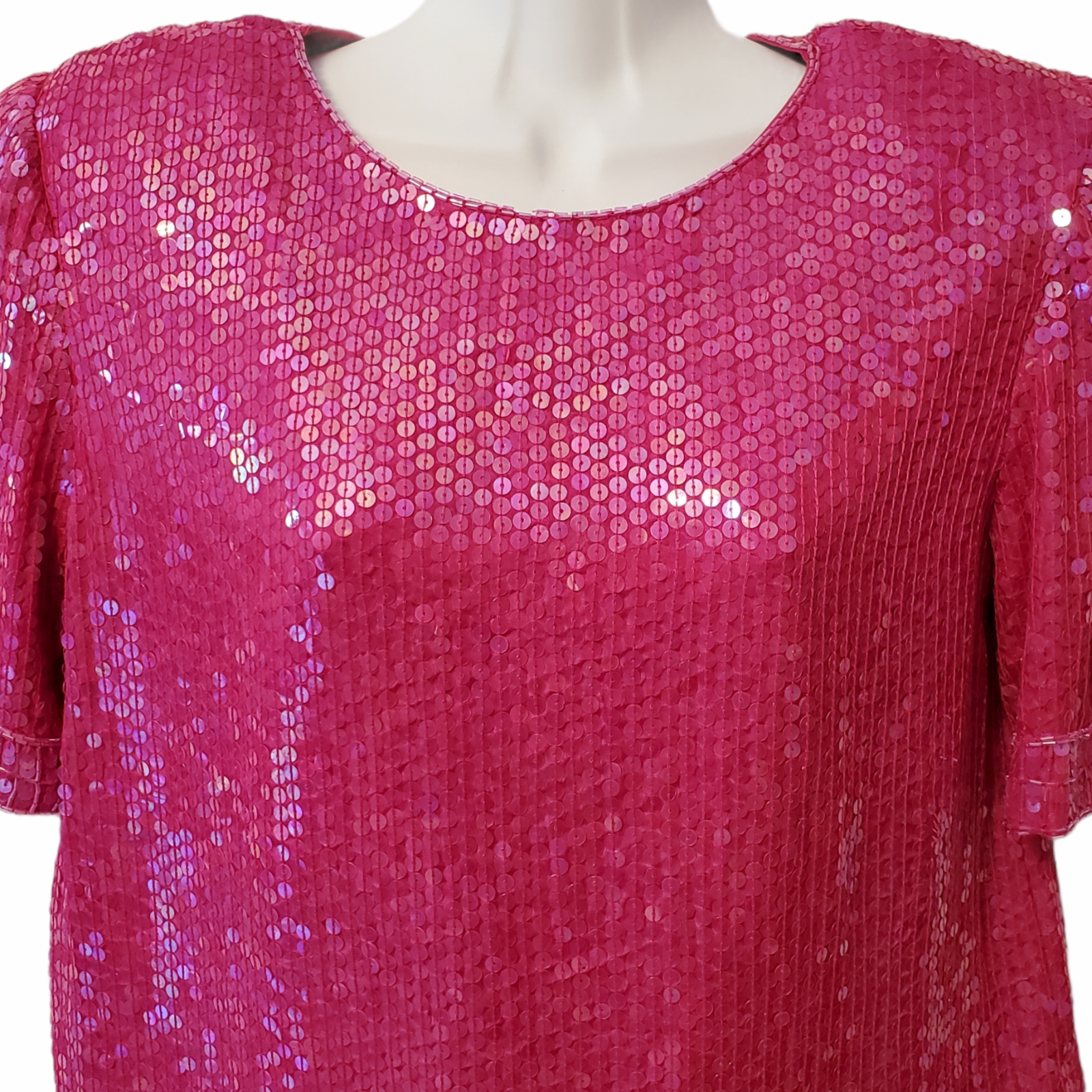Vintage 80s Hot Pink 100% Silk Sequin Party Blouse Lined Women's S Pad Shoulders