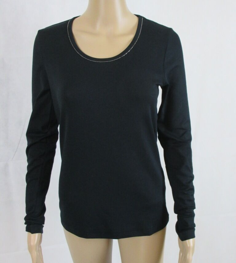 Zaida  Shirt mit Rundhals Ausschnitt, langarm, Farbe schwarz, Größe 44