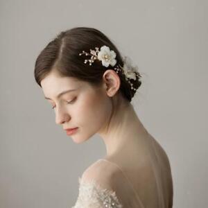 2x Flower Slide Hair Clip Hairpins Women Bridal Pearl Barrette Hair Jewelry