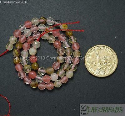 Natural Watermelon Quartz Tourmaline Gemstone Faceted Round Beads 4- 12mm 15.5''