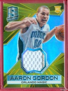 2014-15 SPECTRA (BKB) Aaron Gordon SSP GOLD PRIZM 2-CLR PATCH RC CARD #'ed 05/10