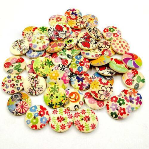 1Bag 15~30mm Cute Round Wood Buttons Sewing Scrapbooking DIY Craft Handmade