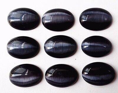 9Pcs 25x18x6mm Charming Black Cat Eye Oval Cab Cabochon AMY12RL