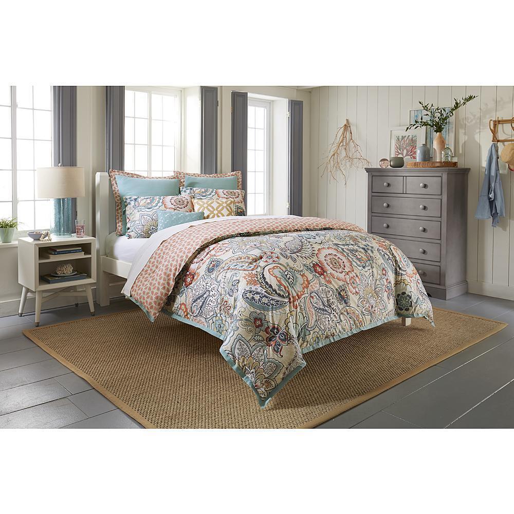 Comforter Set 7 Pc Bedding Paisley Print Cotton Multi Farbe Decorative Pillows
