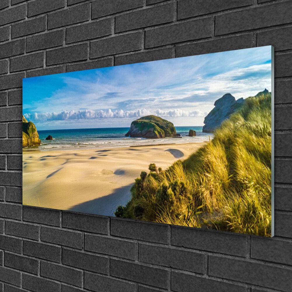 Image sur verre acrylique Tableau Impression 100x50 Paysage Rochers Plage