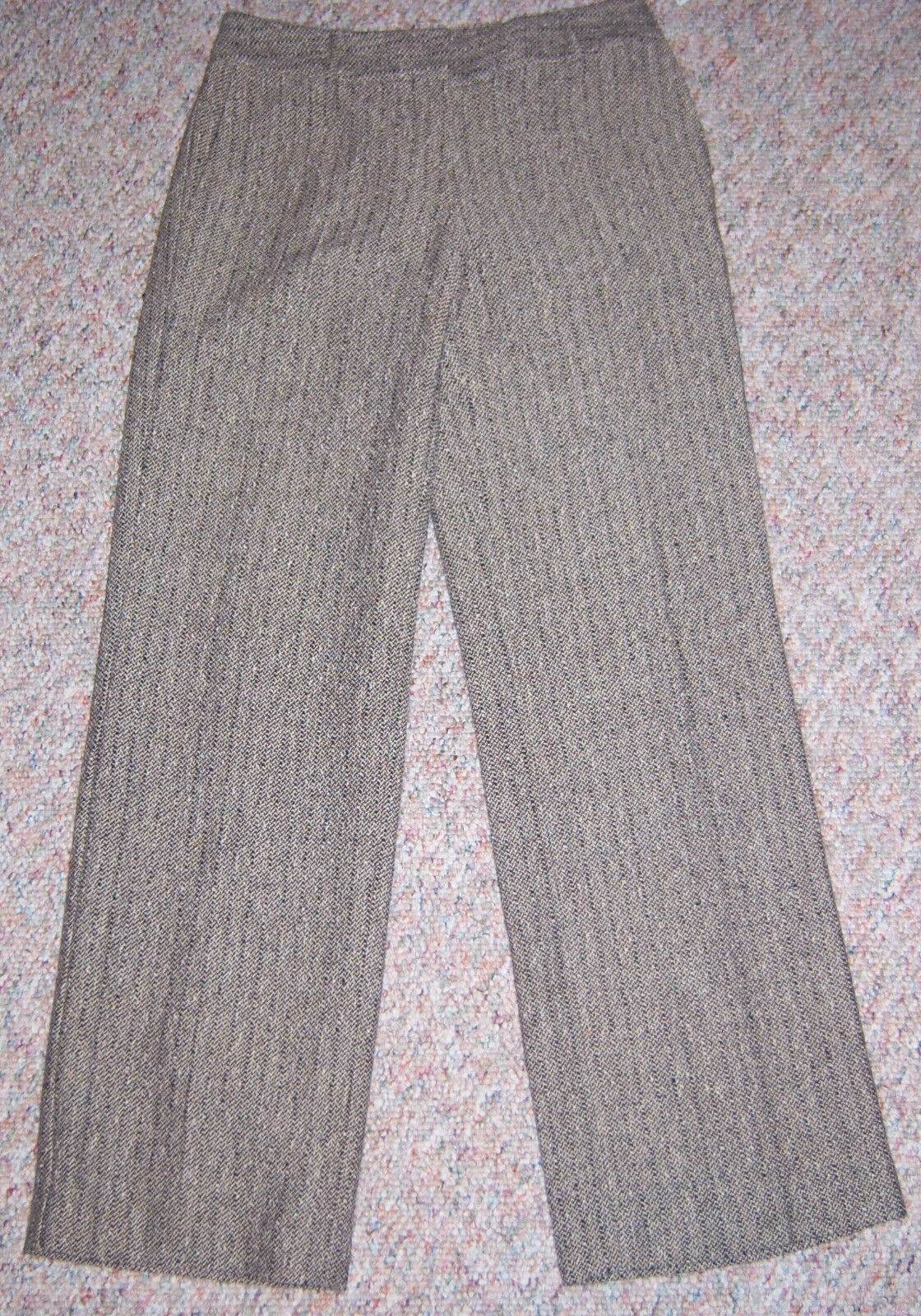 TALBOTS Brown Tan Tweed Fully Lined Wool Cotton Dress Pants Size 2P 2 Petite NWT
