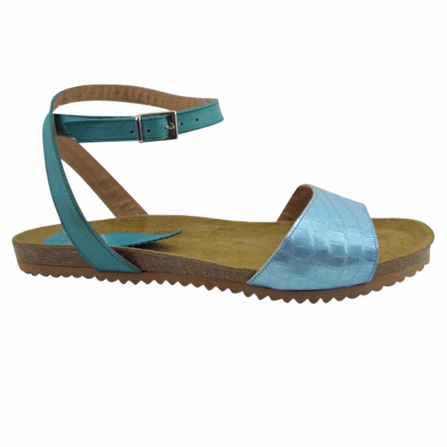 Size 12 bluee Leather & Cork Flat Sandals Made in Spain Large Size Women's shoes
