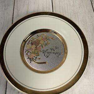 Happy-40th-Anniversary-Japan-Chokin-Porcelain-Art-24k-Gold-Rim-Collectible-Plate