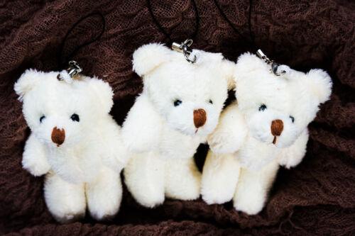 Plüsch Plüsch Schlüsselanhänger Auto Teddybär 8cm Beige Weiß Anhänger Taschenanhänger Bean Bags