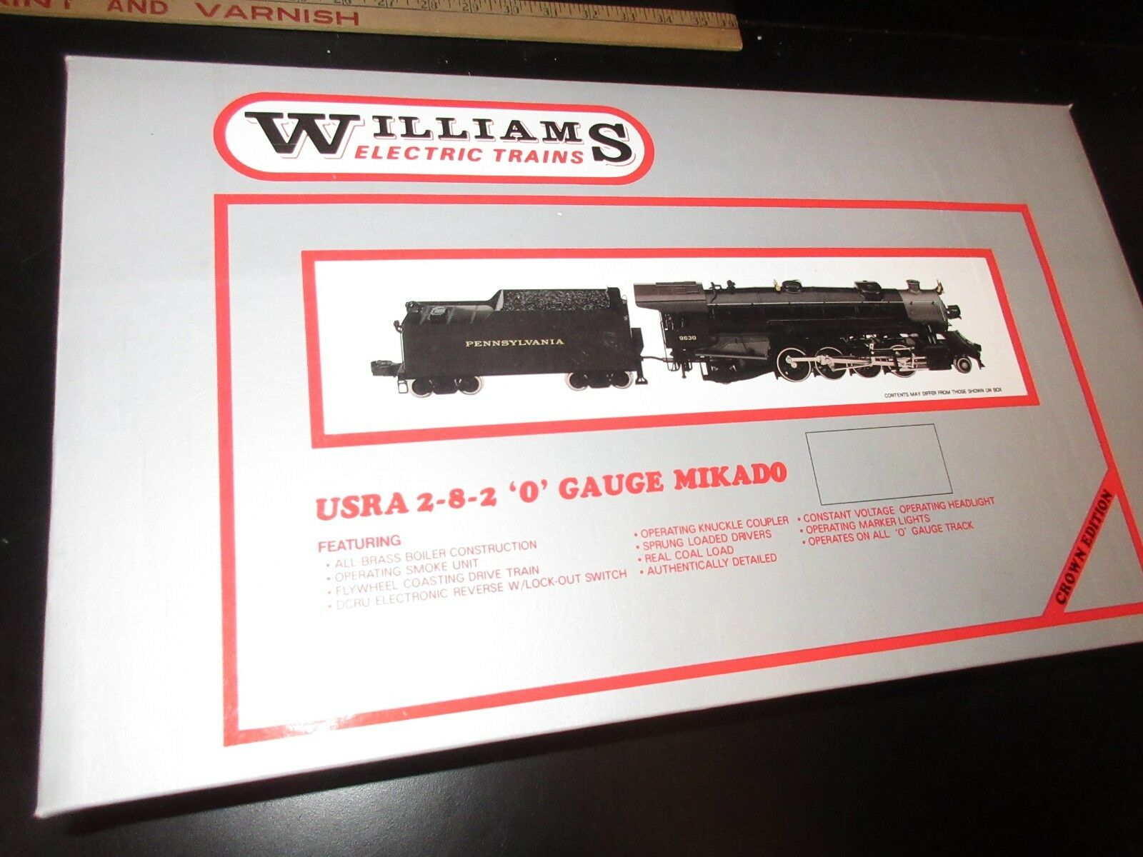 Williams Brass Pennsylvania O Gauge Mikado Steam Engine and Tender